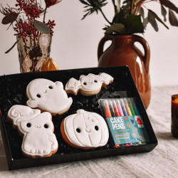 Halloween Colour In Cookies Gift Set - 4 Iced Vanilla Cookies with Edible Pens